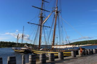 H.M.S. Tecumseth docked at Discovery Harbour