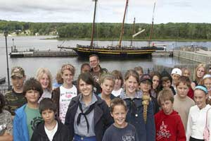 School group in front of the H.M.S. Tecumseth