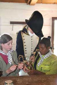 Hands on Activities with a Costumed Interpreter during a tour of Discovery Harbour